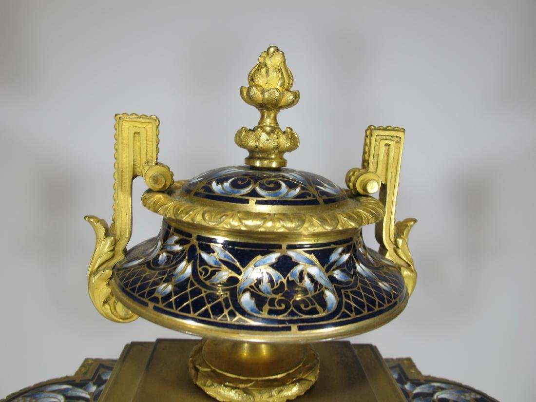 19th C French CHles Mt bronze champleve clock set - 2