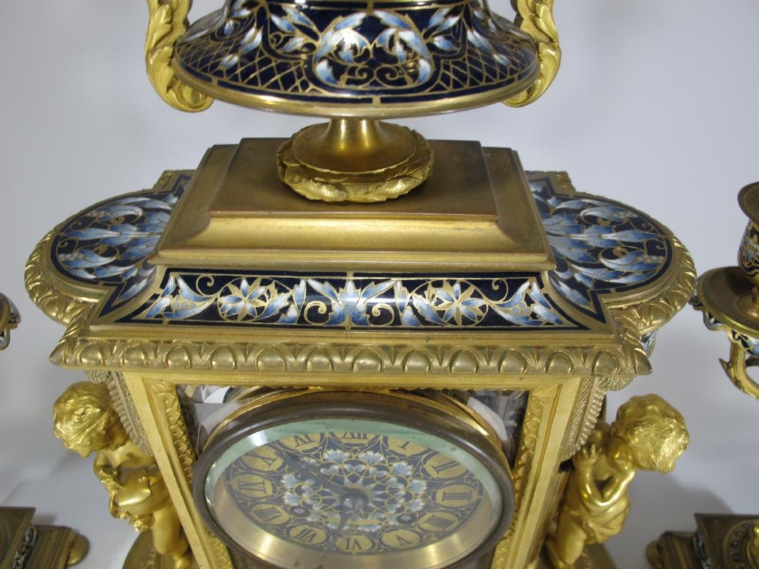 19th C French CHles Mt bronze champleve clock set - 7