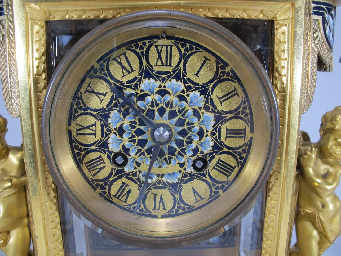 19th C French CHles Mt bronze champleve clock set - 8