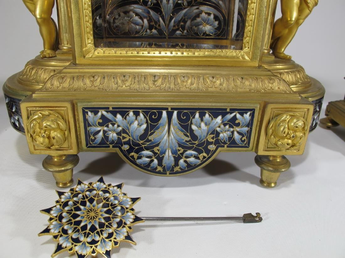 19th C French CHles Mt bronze champleve clock set - 9