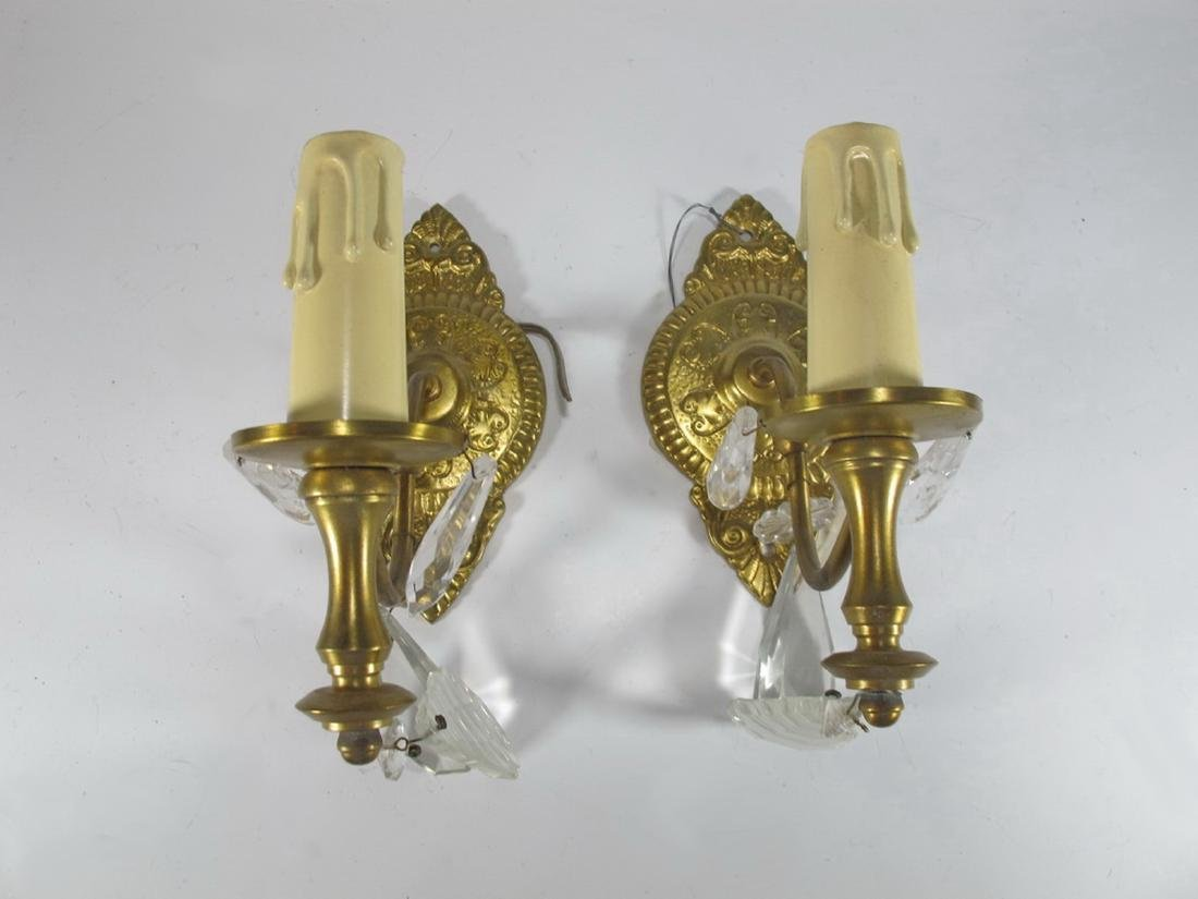 Antique pair of  French bronze & glass wall sconces - 2