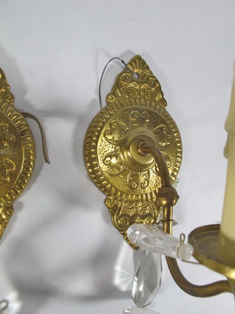 Antique pair of  French bronze & glass wall sconces - 3