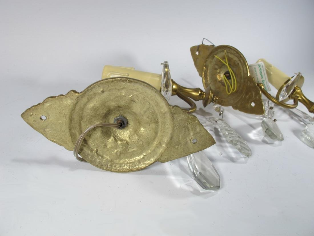 Antique pair of  French bronze & glass wall sconces - 4