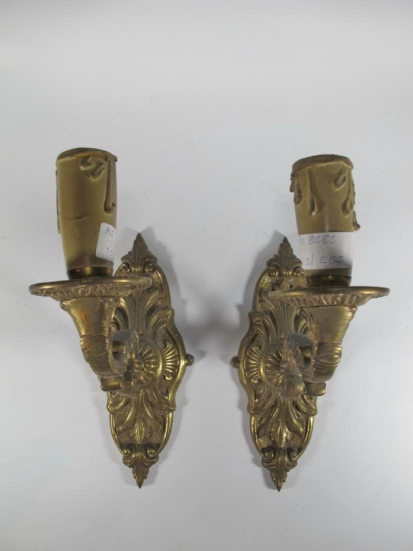 Antique pair of  French bronze wall sconces - 2
