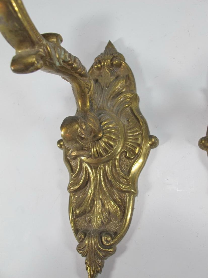 Antique pair of  French bronze wall sconces - 3