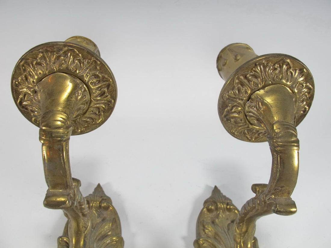 Antique pair of  French bronze wall sconces - 4