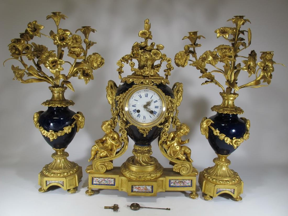 19th C French Japy Freres bronze & porcelain clock set