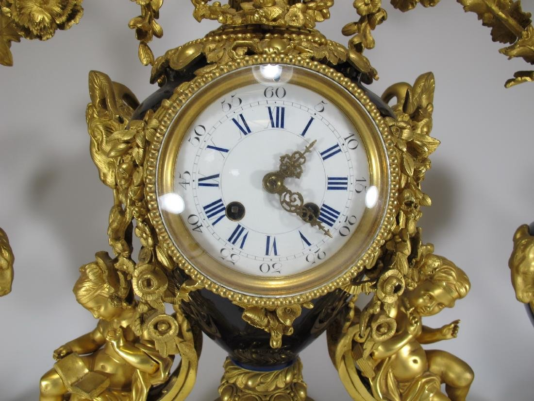 19th C French Japy Freres bronze & porcelain clock set - 3