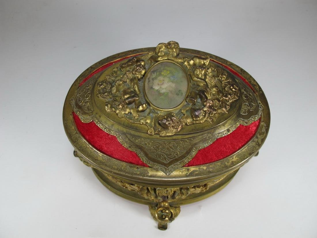 Antique French gilt bronze jewelry box - 2