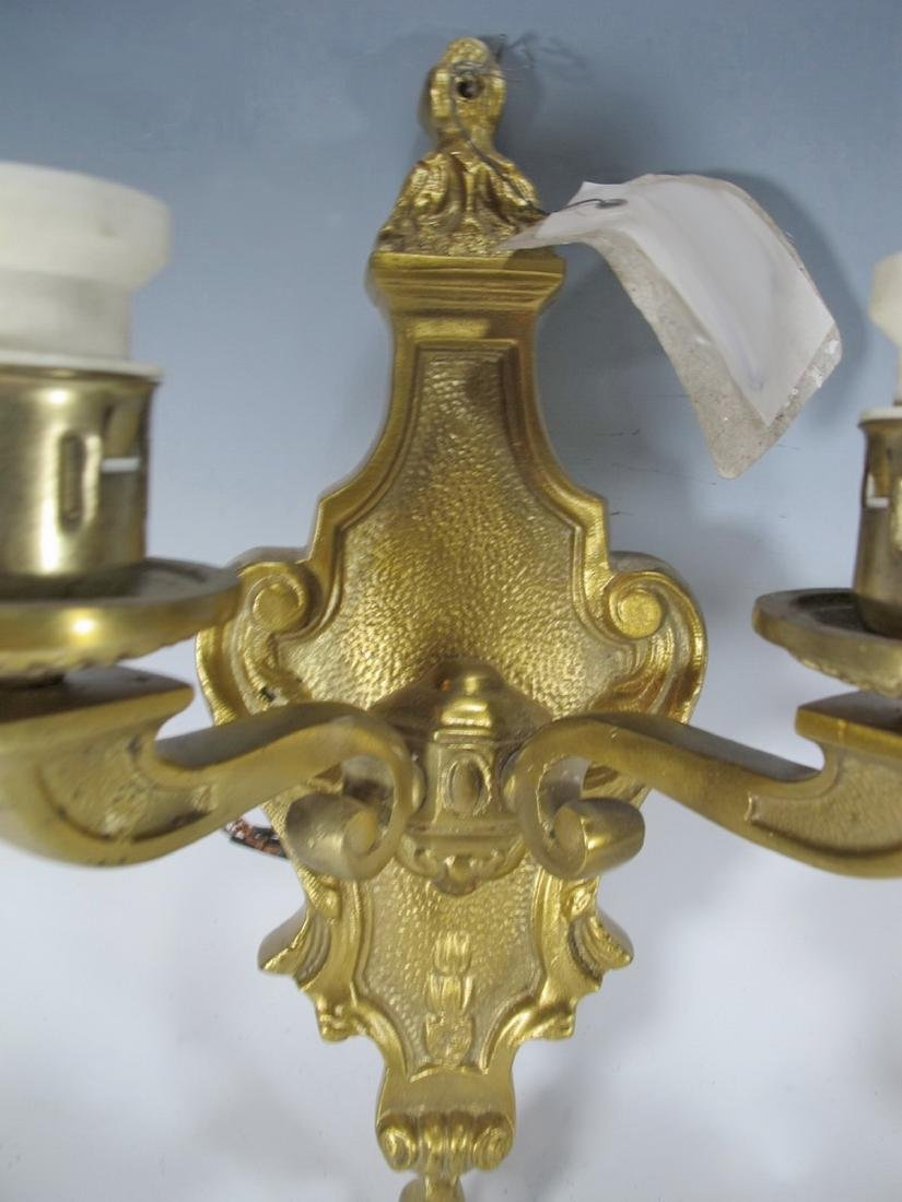 Antique French pair of bronze wall sconces - 2