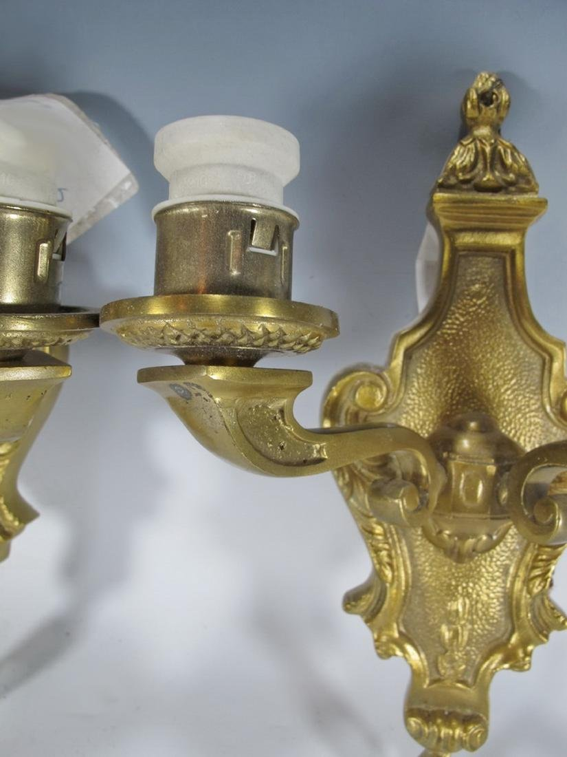 Antique French pair of bronze wall sconces - 4