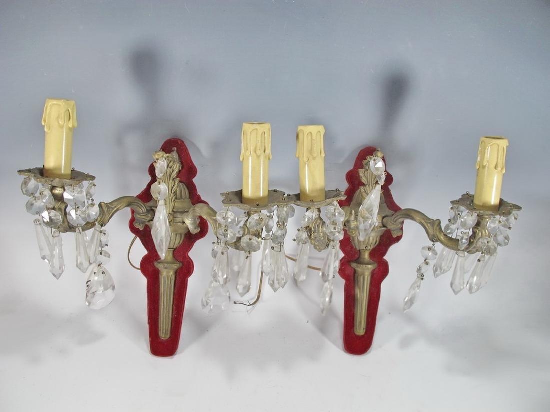 Antique Pair of French bronze, glass & velvet sconces
