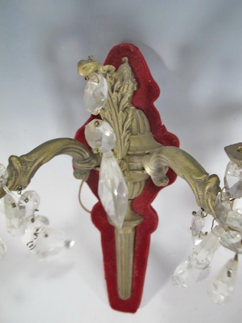 Antique Pair of French bronze, glass & velvet sconces - 2