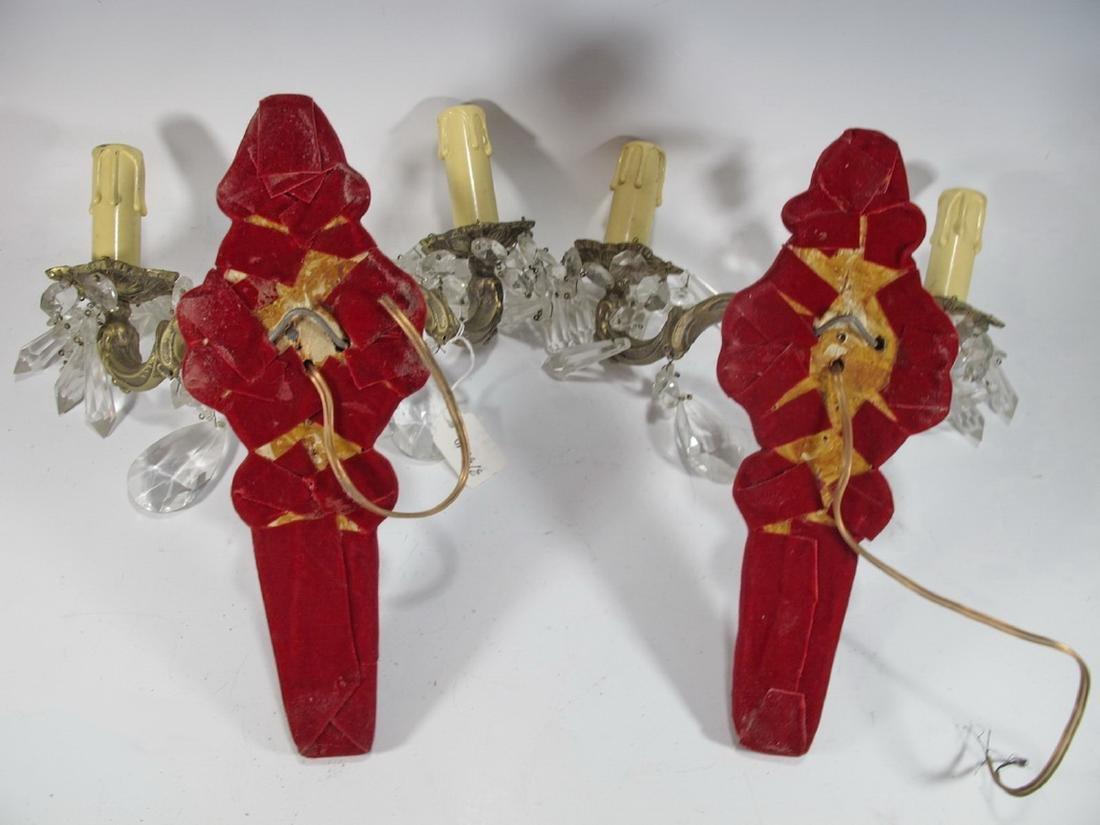 Antique Pair of French bronze, glass & velvet sconces - 6