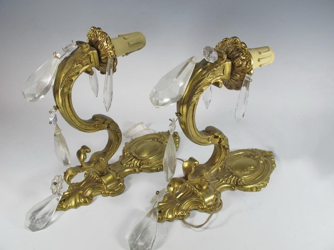 Antique French pair of bronze & glass wall sconces