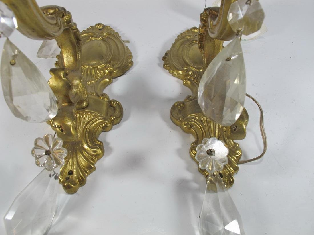Antique French pair of bronze & glass wall sconces - 5