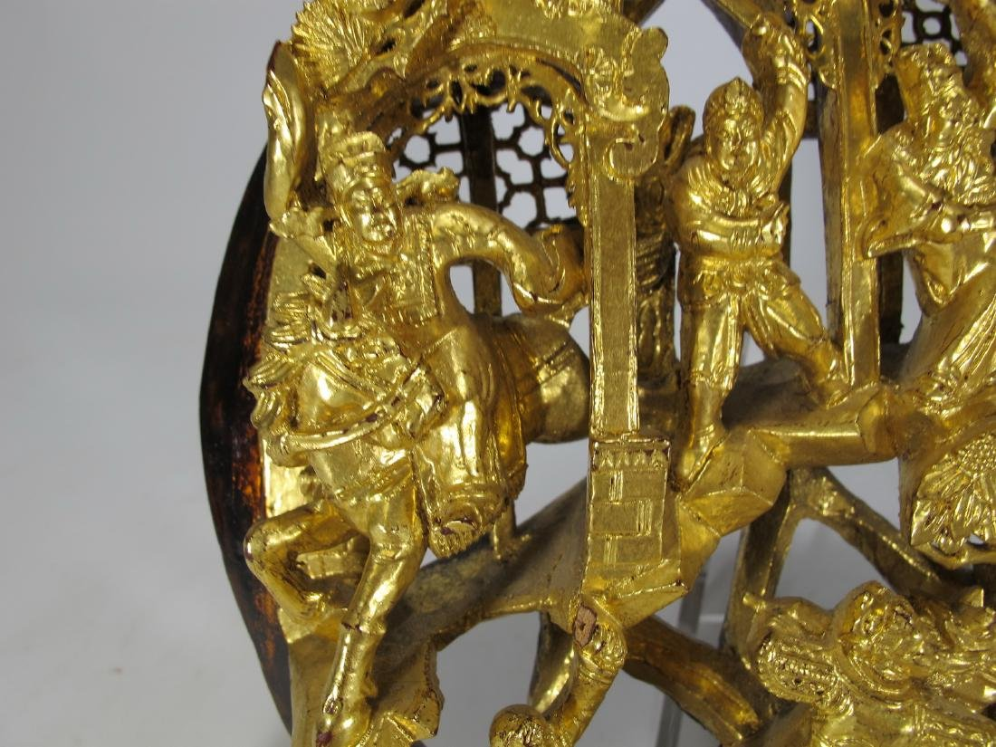 Antique Chinese carved gilt wood round plaque - 3