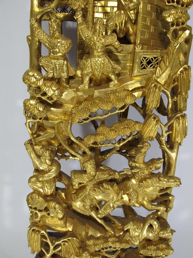 Antique Chinese carved gilt wood  plaque - 3
