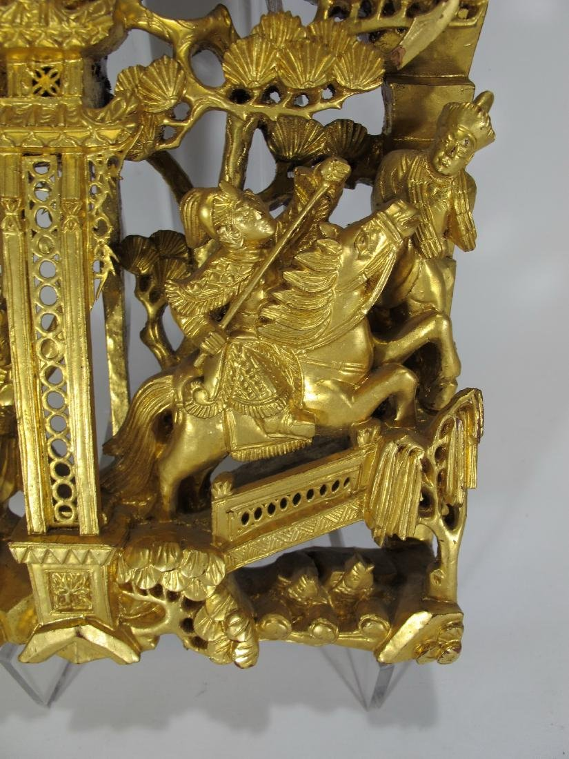 Antique Chinese carved gilt wood  plaque - 6