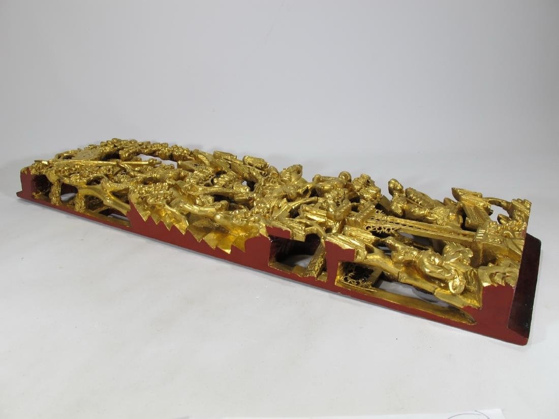 Antique Chinese carved gilt wood  plaque - 9