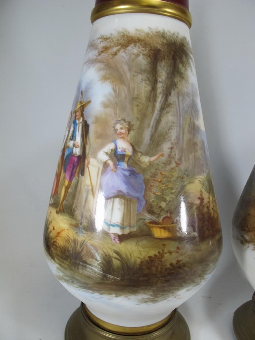 Antique pair of French Sevres porcelain vases - 3
