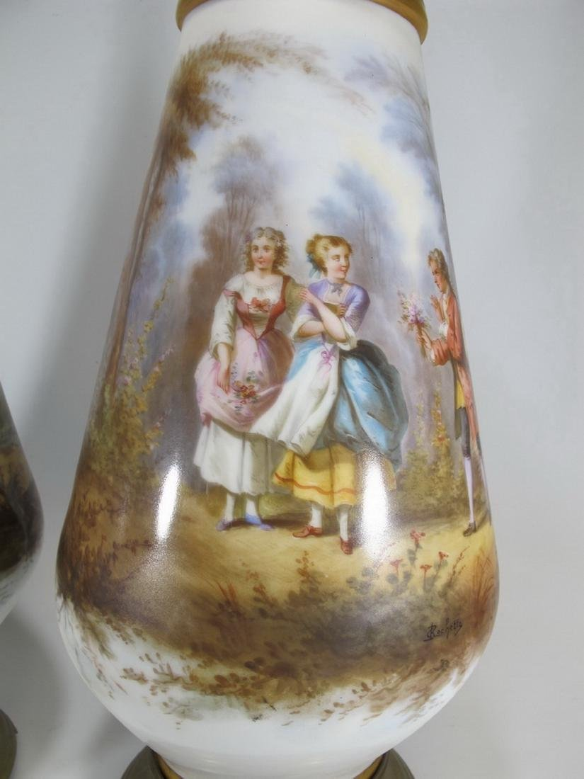Antique pair of French Sevres porcelain vases - 4
