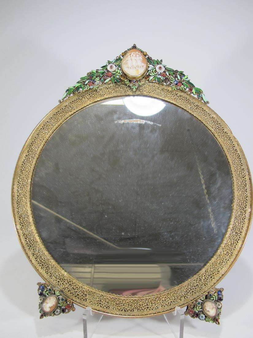 Antique bronze fillgree, precious stones & cameos