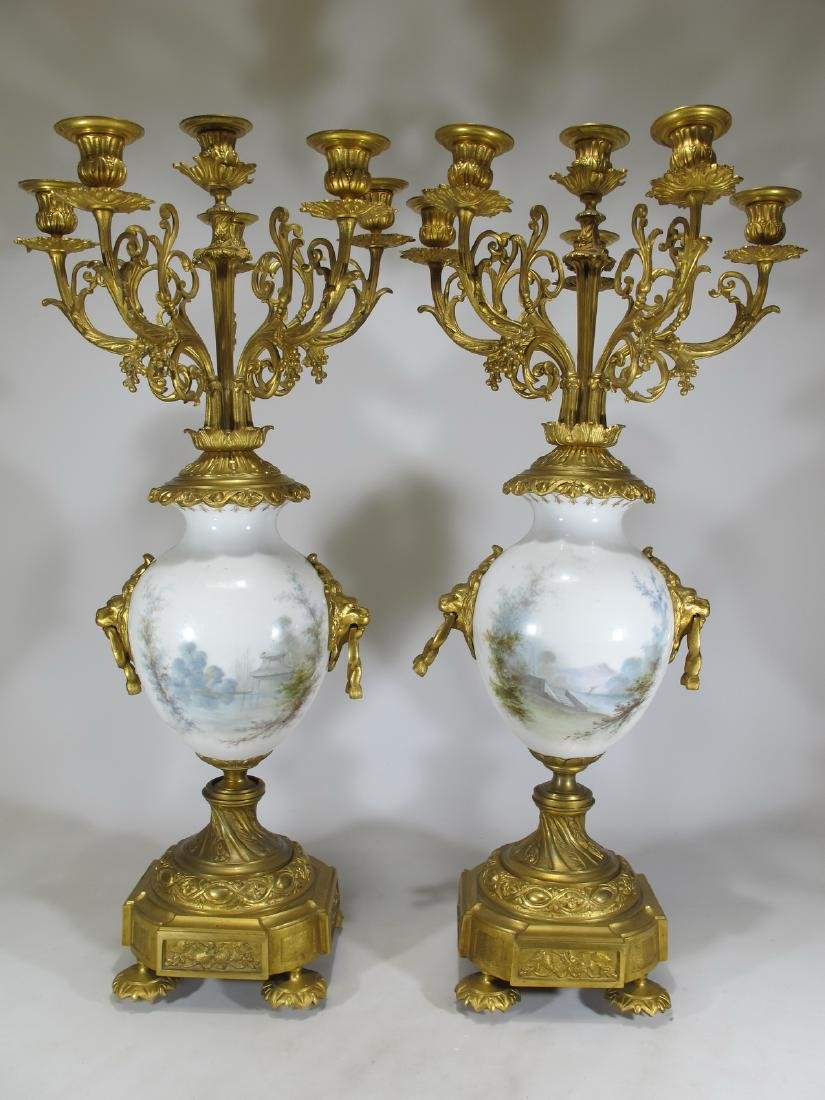 Antique French Sevres pair of gilt bronze & porcelain - 10