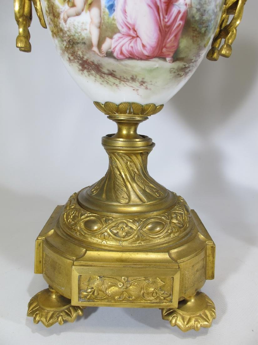 Antique French Sevres pair of gilt bronze & porcelain - 4