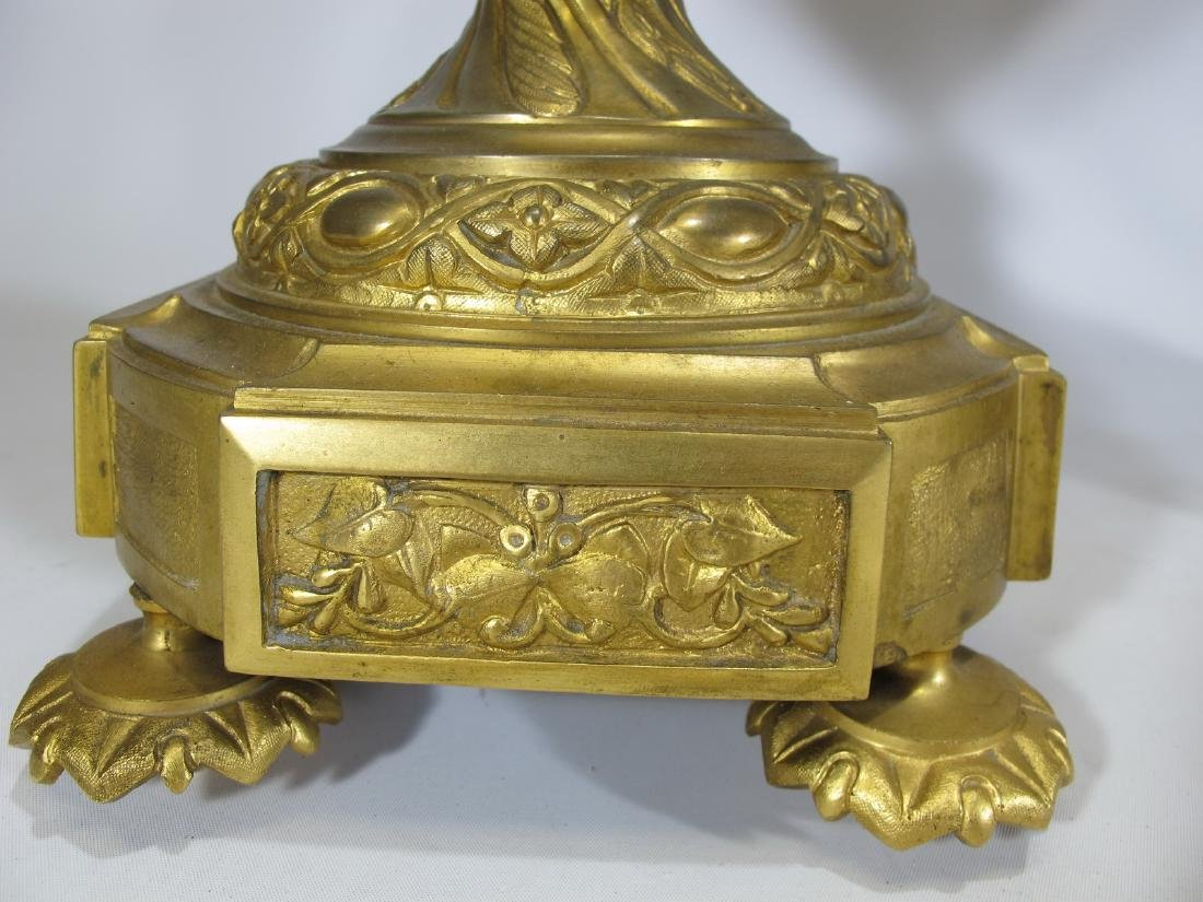 Antique French Sevres pair of gilt bronze & porcelain - 7