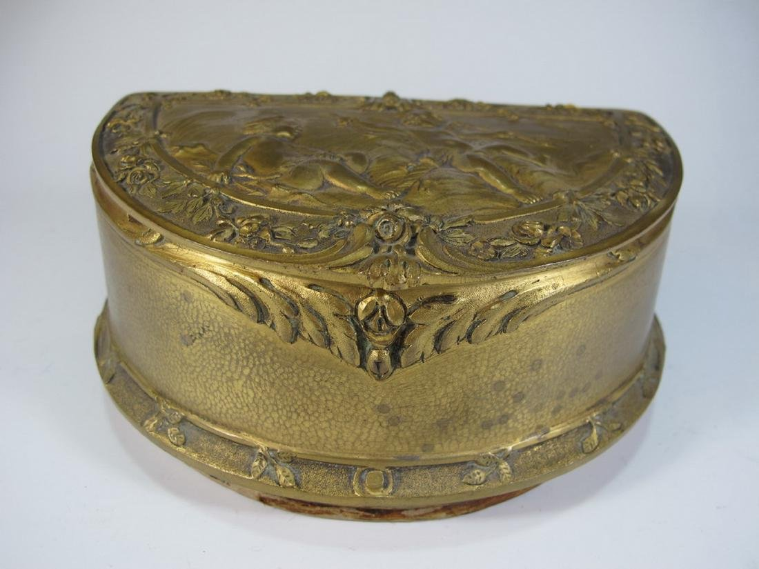Antique French bronze jewelry box