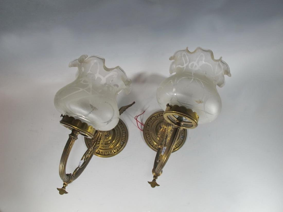 Antique pair of French bronze & glass sconces - 2