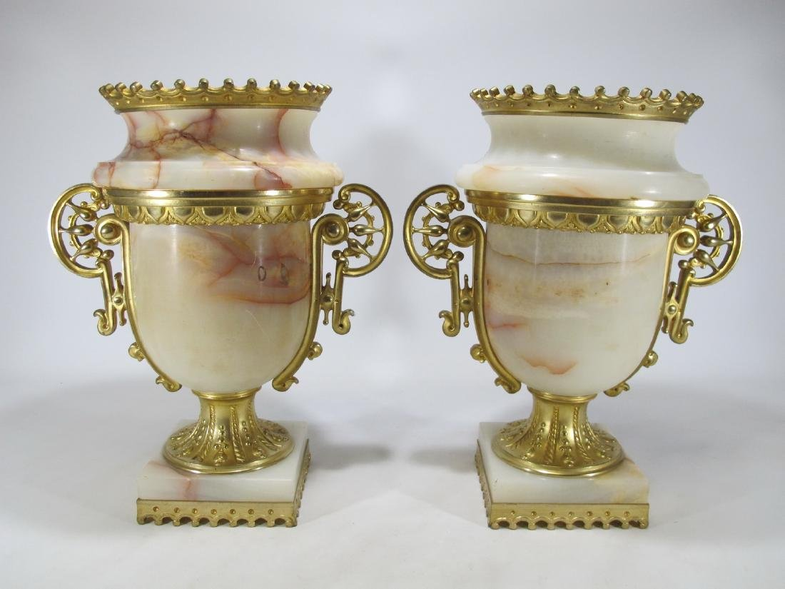 Decorative Arts Reasonable Pair Of French Bronze Champleve Enamel Urns Other Antique Decorative Arts