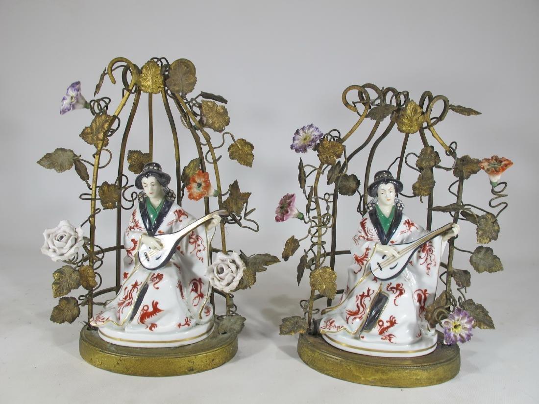 Antique gilt bronze & porcelain statues