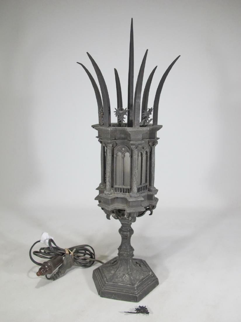 Antique Italian spelter & glass lamp