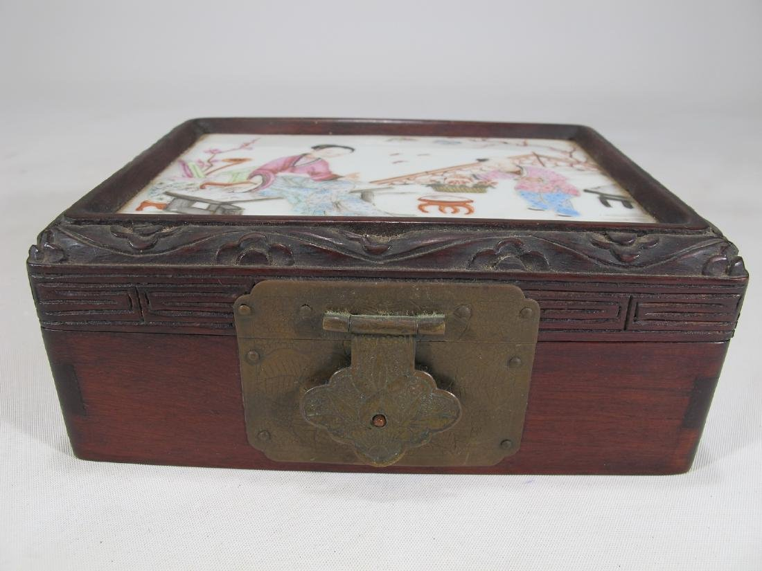Antique Chinese wood , porcelain & brass box