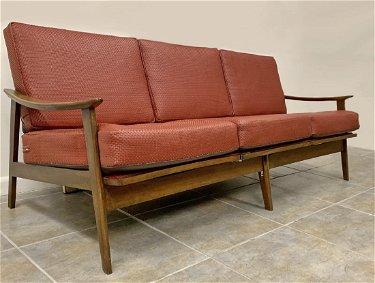 1970\' Scandinavian red leather sofa