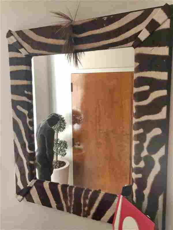 1970' huge zebra wall mirror
