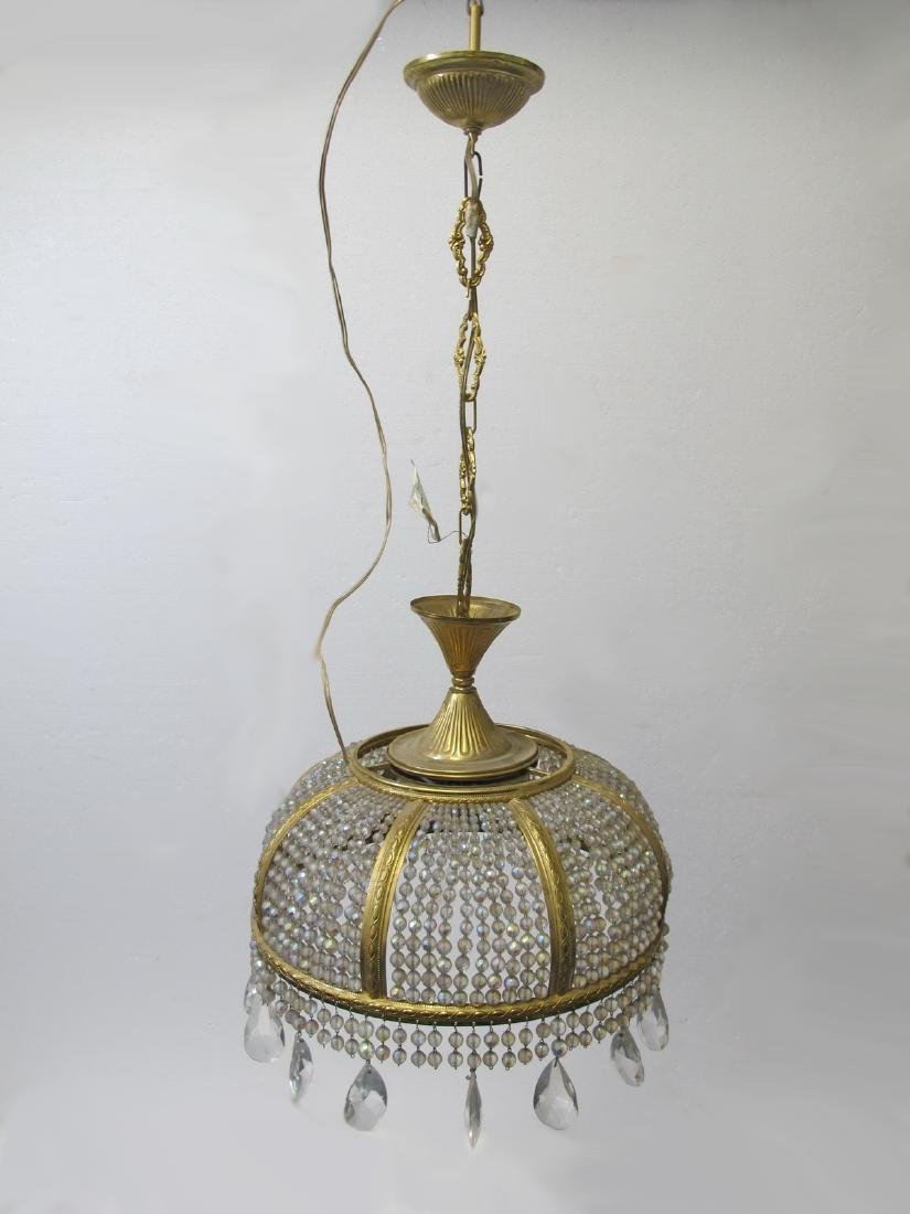 Vintage French bronze & glass chandelier