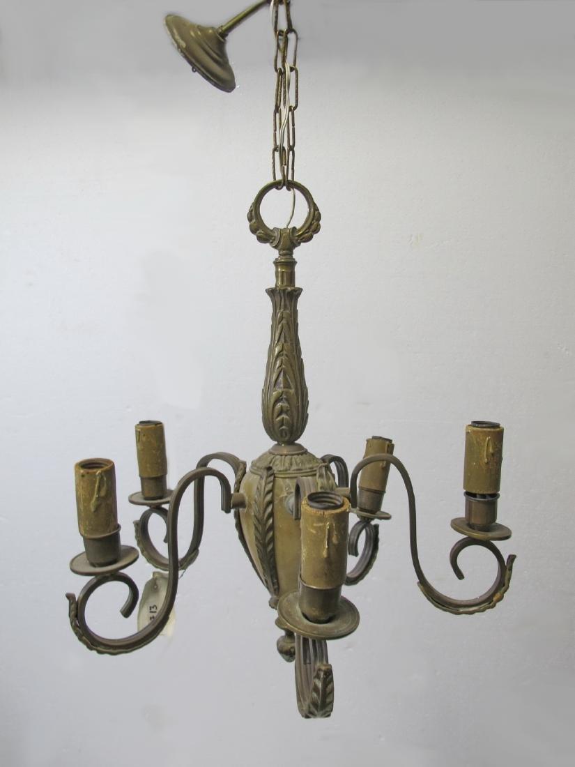 Antique French bronze & alabaster chandelier