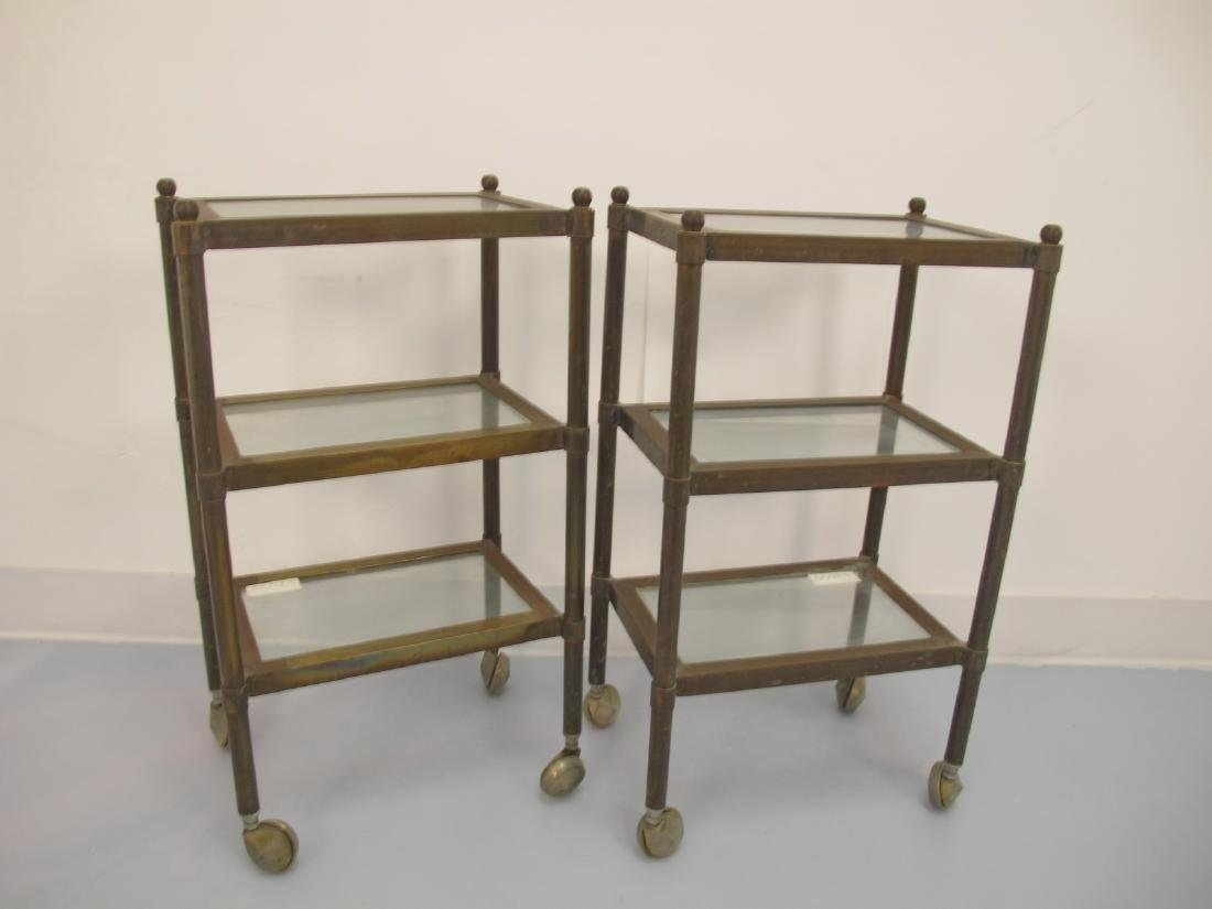 Vintage pair of bronze & glass side tables