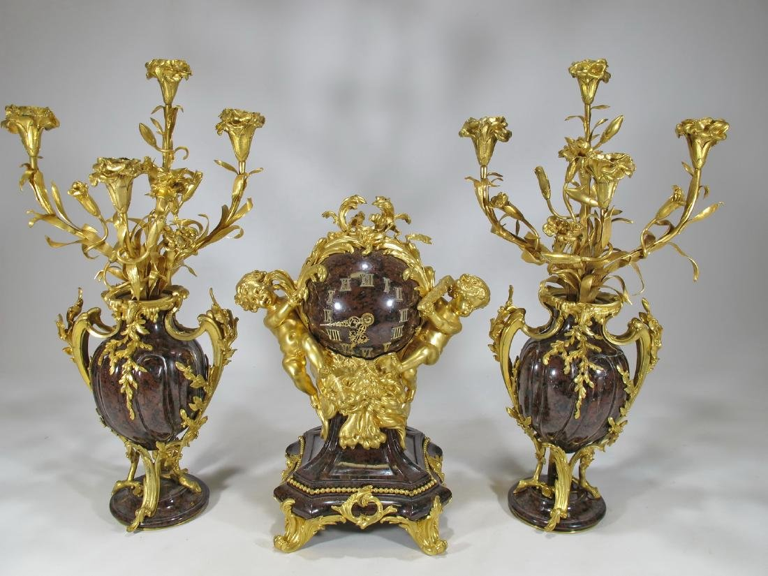 Antique gilt bronze & rouge griotte marble garniture