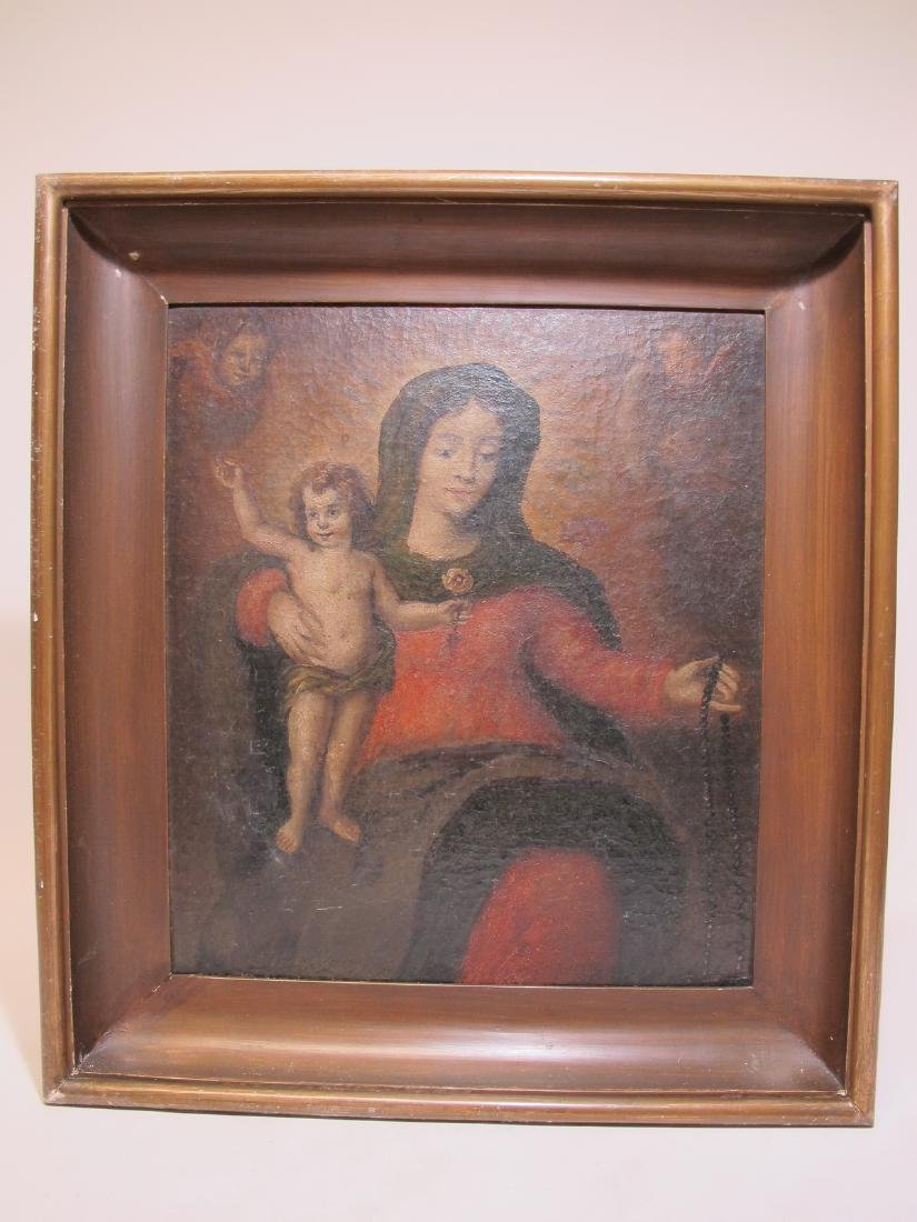 19th C oil on board Religious painting