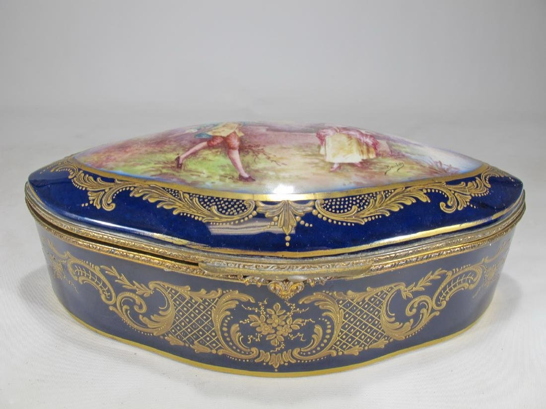 Antique French Sevres hand painted porcelain box.