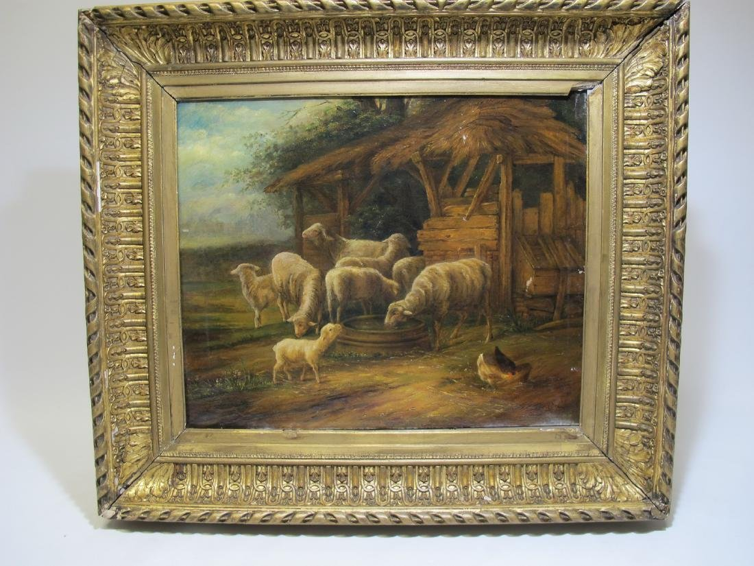 Antique European sheeps oil on canvas, signed
