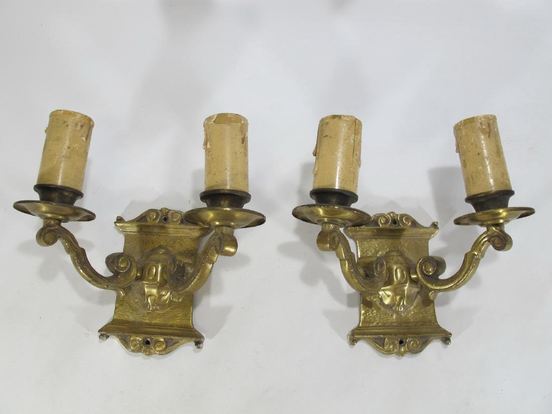 Vintage French pair of bronze wall sconces