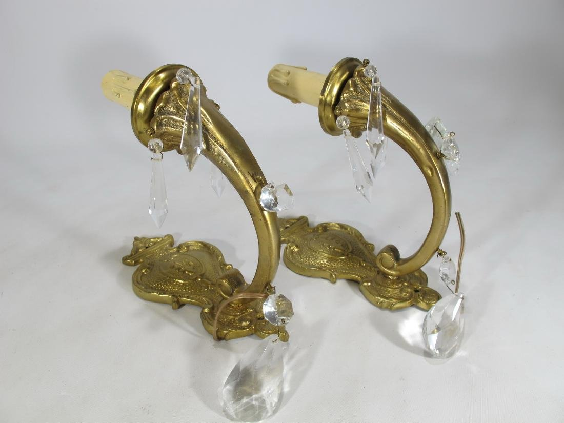 Vintage French pair of bronze & crystal wall sconces