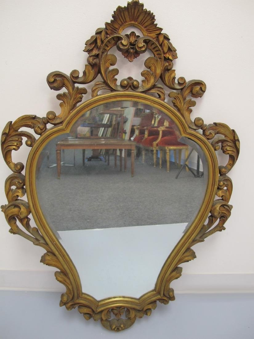 Vintage French Louis XV style gilt carved wood mirror