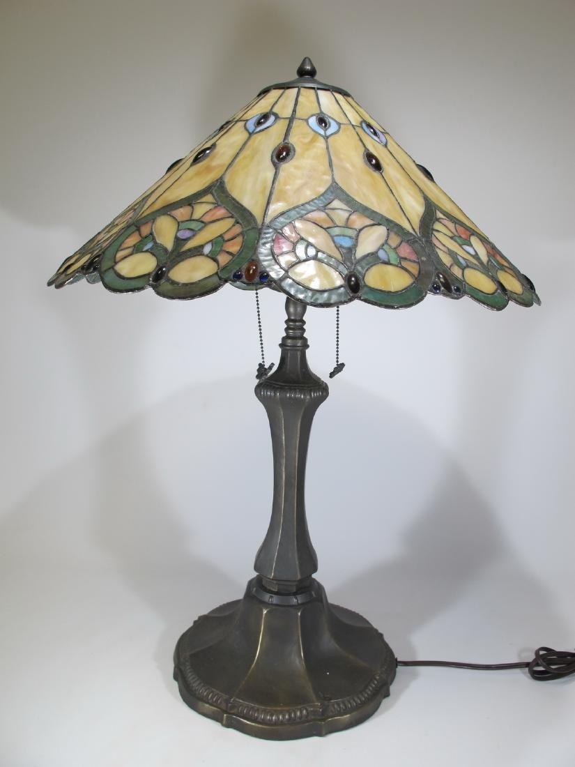 Tiffany style slag glass table lamp