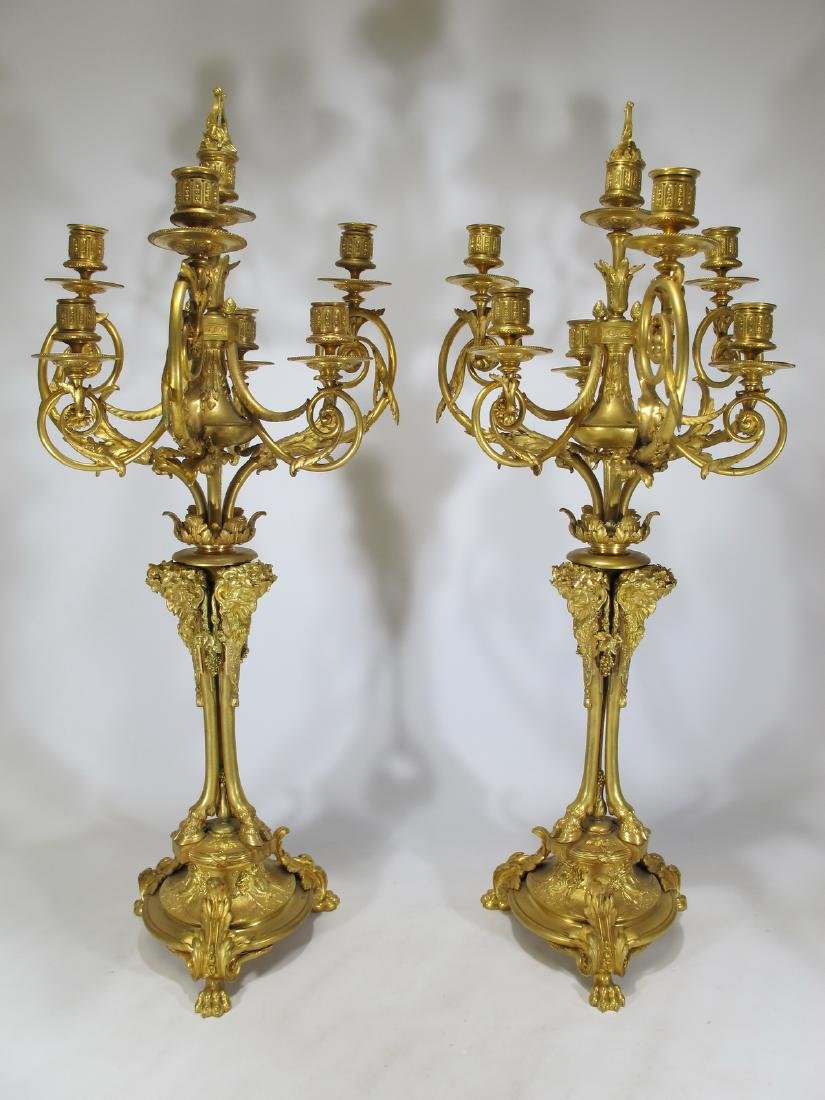Antique huge French pair of bronze candelabras